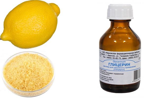 Лимон, желатин и глицерин
